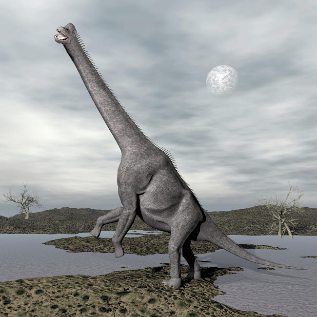 EDV600083P © Stocktrek Images, Inc. Brachiosaurus dinosaur backdropped by a full moon.