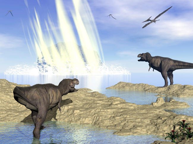 EDV600166P © Stocktrek Images, Inc. Tyrannosaurus rex and pteranodons watch a meteorite impact.