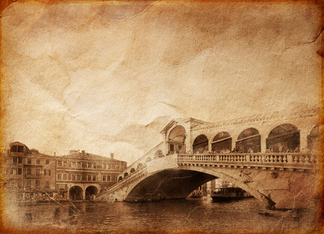 EVK200237S © Stocktrek Images, Inc. Vintage photo of Grand Canal and Rialto Bridge in Venice, Italy.