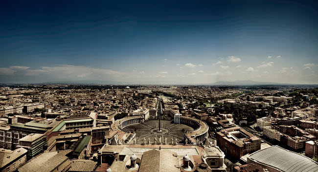 EVK200242S © Stocktrek Images, Inc. Aerial view of St. Peter's Square, Rome, Italy.