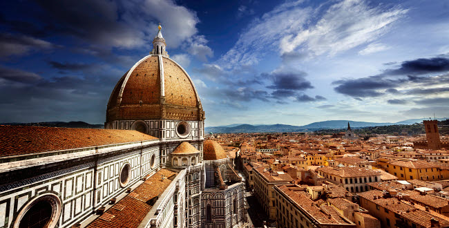 EVK200262S © Stocktrek Images, Inc. Piazza del Duomo with Basilica of Saint Mary of the Flower, Florence, Italy.