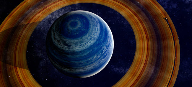 FHV100003S © Stocktrek Images, Inc. A ringed blue gas giant with shepherd moon in the rings.