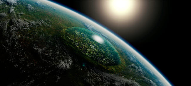 FHV100011S © Stocktrek Images, Inc. Artist's concept of a giant domed city in an asteroid crater on a hypothetical planet.