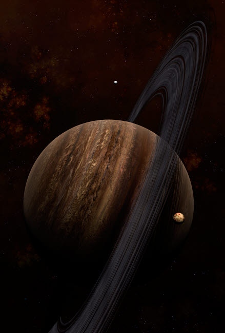FHV100013S © Stocktrek Images, Inc. Artist's concept of a ringed gas giant and its moons.