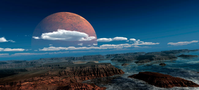 FHV100014S © Stocktrek Images, Inc. A moon rises over a young world.