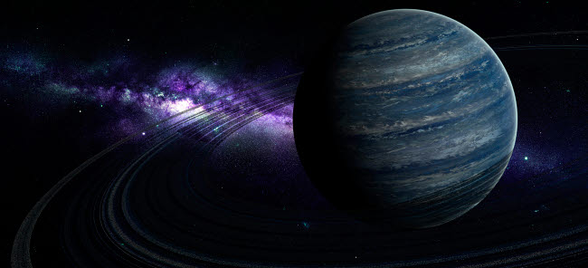 FHV100024S © Stocktrek Images, Inc. Artist's concept of a blue ringed gas giant in front of a galaxy.
