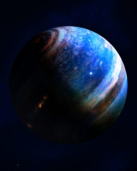FSU100003S © Stocktrek Images, Inc. Artist's concept of an Extrasolar Gas Giant with two of its' many moons.