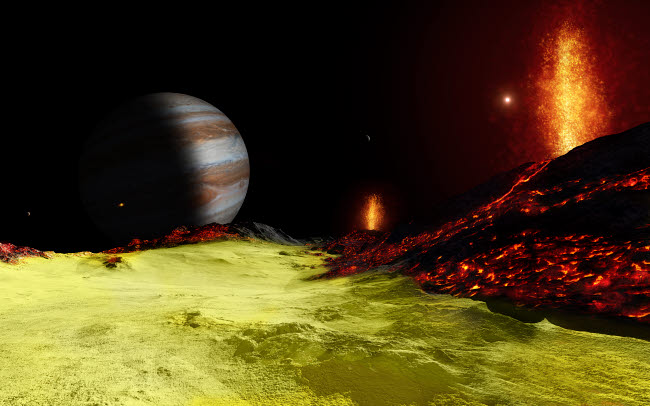 FSU100014S © Stocktrek Images, Inc. Volcanic activity on Jupiter's moon Io, with the planet Jupiter visible on the horizon.