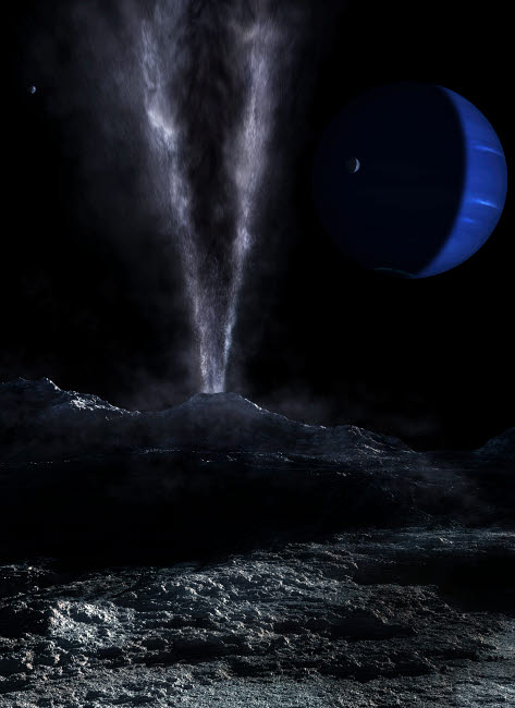 FSU100018S © Stocktrek Images, Inc. A small geyser on the surface of Triton, with Neptune in the background.