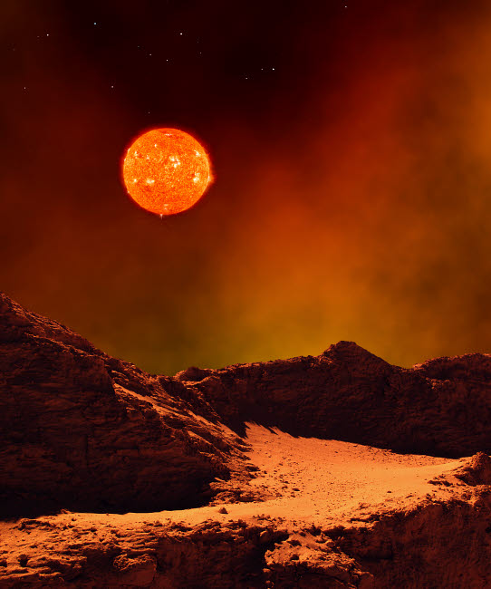 HET100017S © Stocktrek Images, Inc. A rugged planet landscape dimly lit by a distant red star.