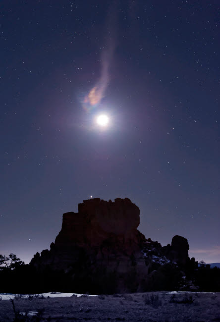 JDA100012S © Stocktrek Images, Inc. Moon diffraction over Malpais Monument rock, New Mexico.