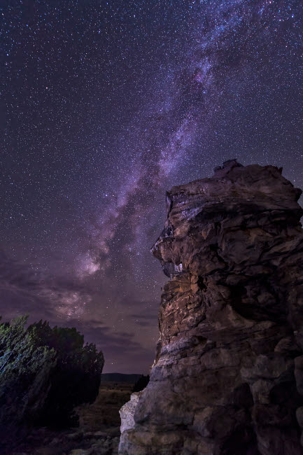 JDA100041S © Stocktrek Images, Inc. A rocky hoodoo against the Milky Way, Oklahoma.
