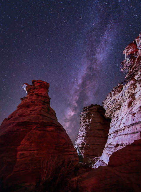 JDA100044S © Stocktrek Images, Inc. The Milky Way rises above the Wedding Party rock formation in Oklahoma.