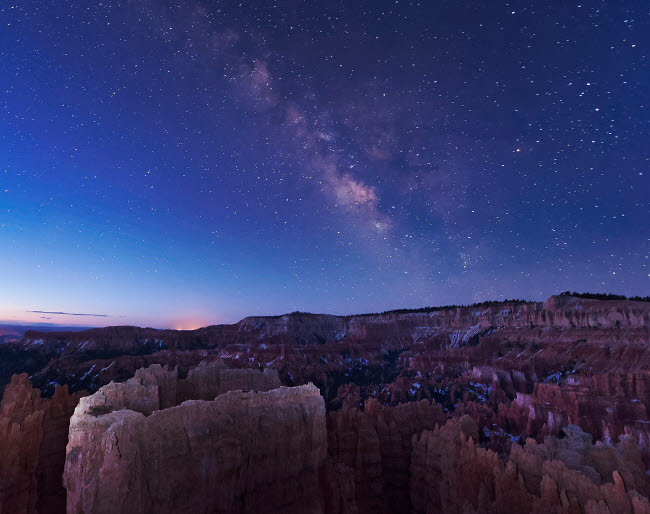 JDA100050S © Stocktrek Images, Inc. Milky Way over the needle rock formations of Bryce Canyon, Utah.