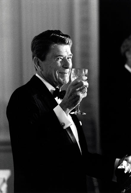 JPA100951M © Stocktrek Images, Inc. Digitally restored photo of President Ronald Reagan making a toast.