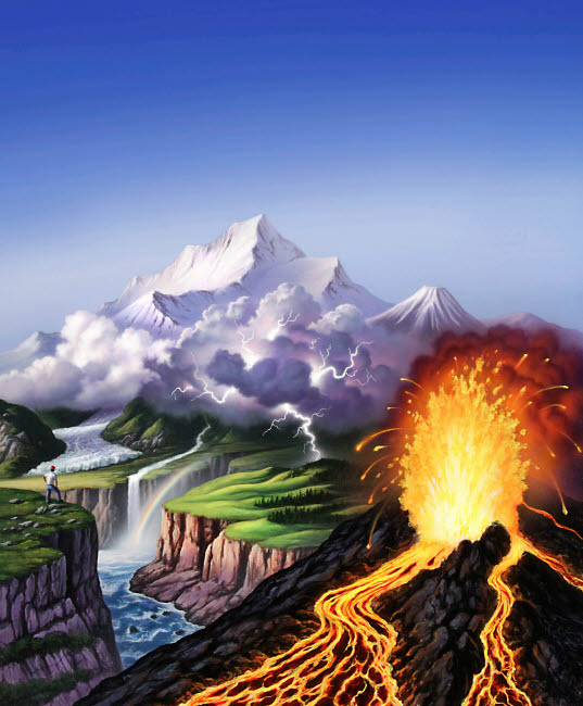 JRY200006S © Stocktrek Images, Inc. A montage of Earth's features including a volcano, river, storm and mountains.