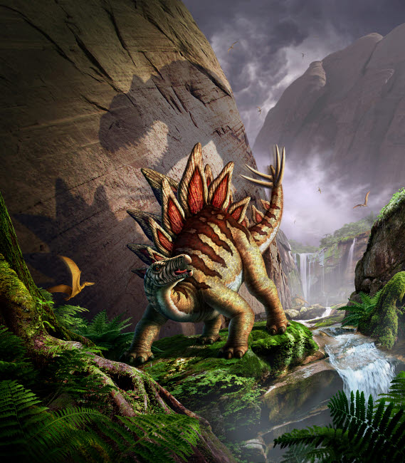 JRY600012P © Stocktrek Images, Inc. A Stegosaurus is surprised by an Allosaurus while feeding in a lush gorge.