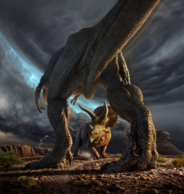 JRY600015P © Stocktrek Images, Inc. A Tyrannosaurus Rex and Triceratops in a classic face off.