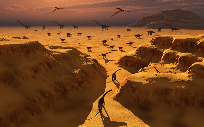 MAS100384P © Stocktrek Images, Inc. A mixed herd of dinosaurs migrate to greener pastures.