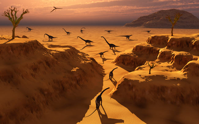 MAS100385P © Stocktrek Images, Inc. A herd of Omeisaurus dinosaurs migrate to greener pastures.