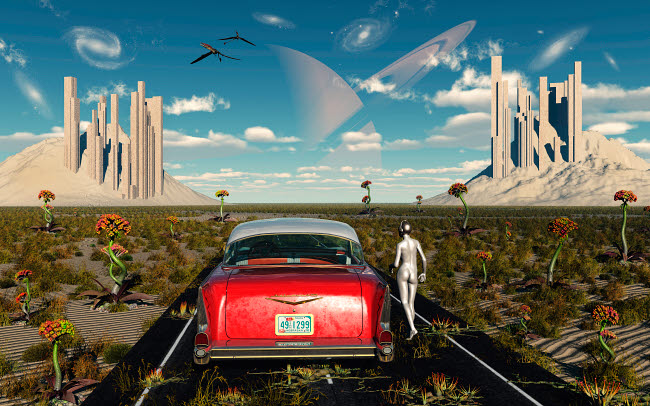 MAS100494S © Stocktrek Images, Inc. A Chevrolet car on a highway to nowhere on an alien world.