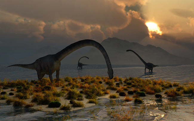 MAS100644P © Stocktrek Images, Inc. A herd of Omeisaurus sauropod dinosaurs grazing.