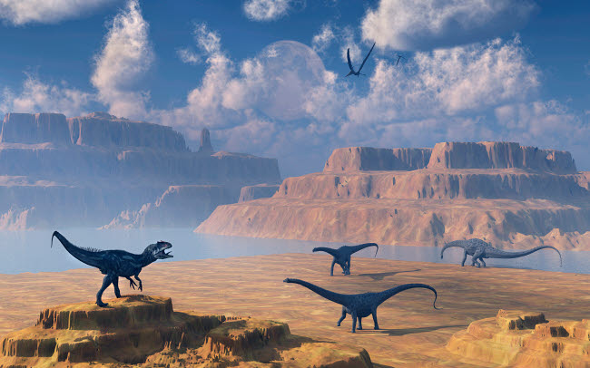 MAS100806P © Stocktrek Images, Inc. Diplodocus dinosaurs being stalked by a carnivorous Allosaurus.