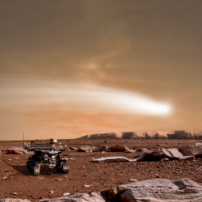 MRC200001S © Stocktrek Images, Inc. An artist's depiction of the close pass of comet C/2013 A1 over Mars.