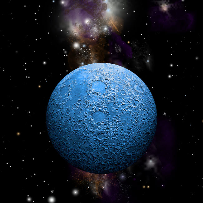MRC200003S © Stocktrek Images, Inc. Artist's depiction of a cratered moon in space with a nebula in the background.