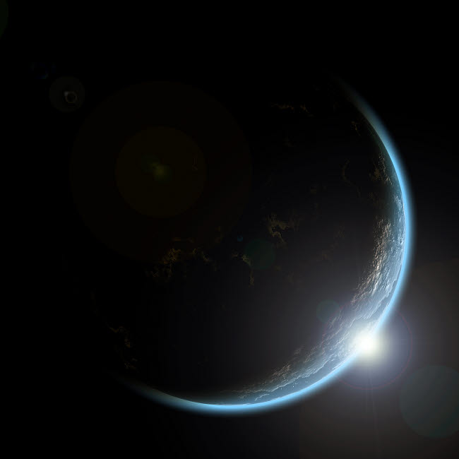 MRC200007S © Stocktrek Images, Inc. An artist's depiction of sunrise over a planet viewed from space.