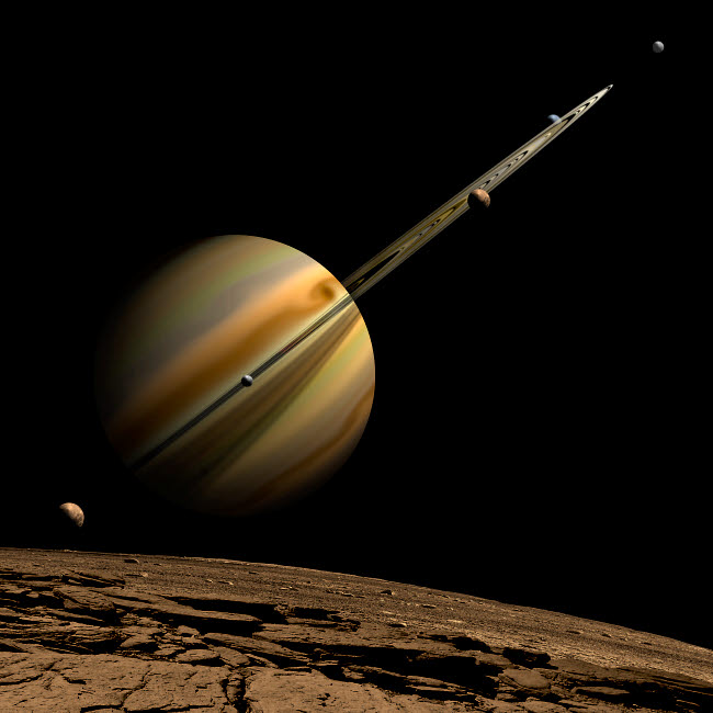 MRC200008S © Stocktrek Images, Inc. An artist's depiction of a ringed gas giant planet with six moons.