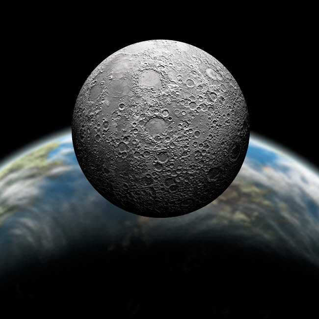 MRC200012S © Stocktrek Images, Inc. Artist's depiction of a heavily cratered moon in orbit around it's home planet.
