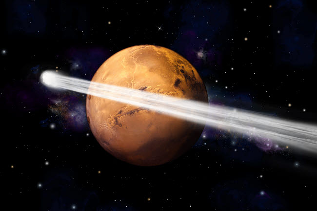 MRC200015S © Stocktrek Images, Inc. Artist's depiction of the comet C/2013 A1 making a close pass by Mars.
