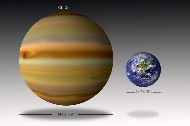 MRC200018S © Stocktrek Images, Inc. Artist's depiction of the size relationship between Earth and Gliese 1214b.
