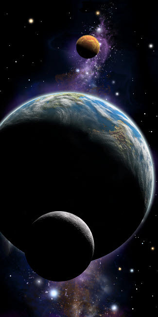 MRC200022S © Stocktrek Images, Inc. An artist's depiction of an Earth type world with two orbiting moons.