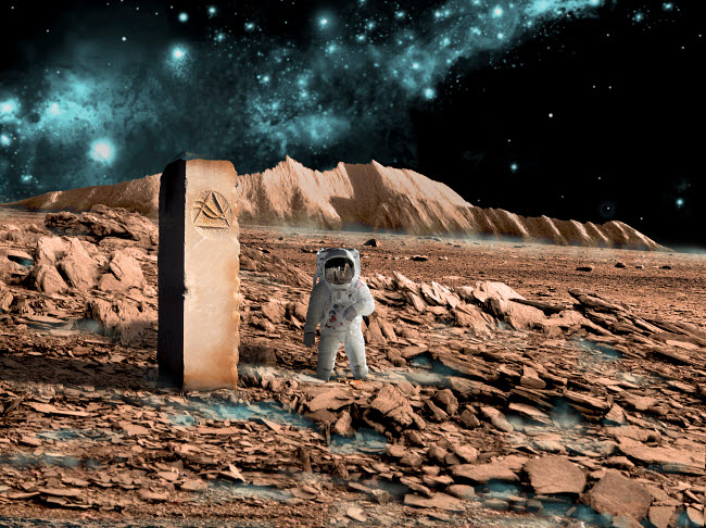 MRC200028S © Stocktrek Images, Inc. Astronaut on an alien world discovers an artifact that indicates past intelligent life.