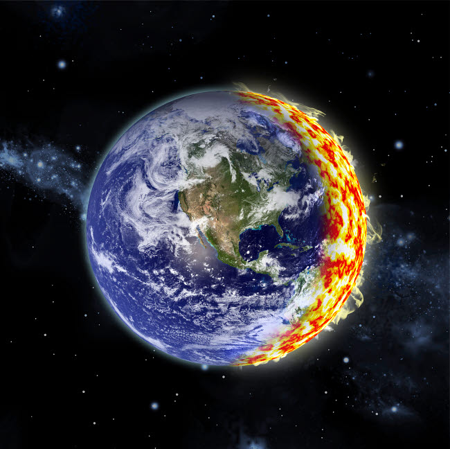 MRC200032S © Stocktrek Images, Inc. An artist's depiction of planet Earth catching on fire.