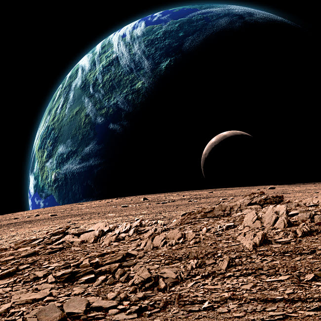 MRC200033S © Stocktrek Images, Inc. An Earth-like planet in deep space with an orbiting moon.
