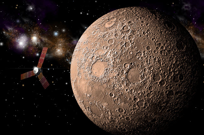 MRC200038S © Stocktrek Images, Inc. A probe investigating a heavily cratered moon in deep space.