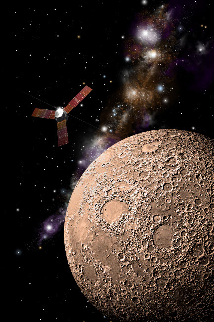 MRC200039S © Stocktrek Images, Inc. A probe investigating a heavily cratered moon in deep space.