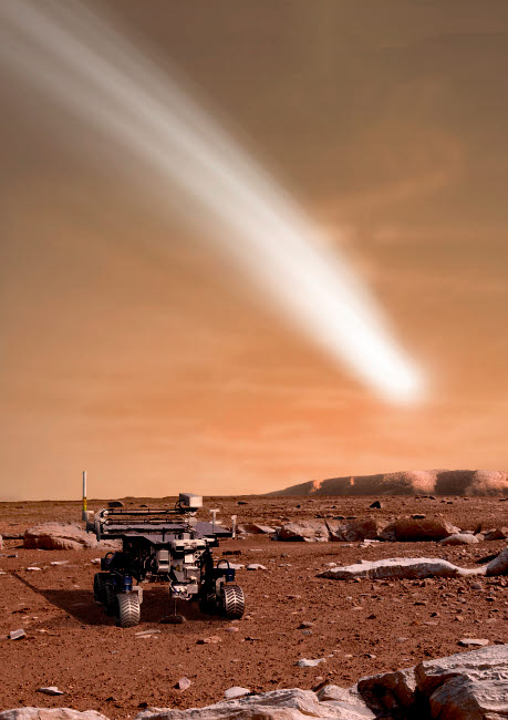 MRC200040S © Stocktrek Images, Inc. An artist's depiction of the close pass of comet C/2013 A1 over Mars.