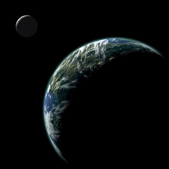 MRC200041S © Stocktrek Images, Inc. An Earth-like planet with an orbiting moon illuminated by a nearby sun.