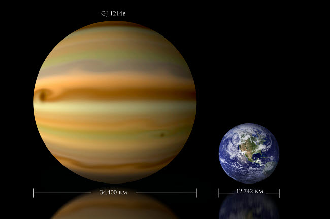 MRC200046S © Stocktrek Images, Inc. Artist's depiction of the size relationship between Earth and  Gliese 1214b.