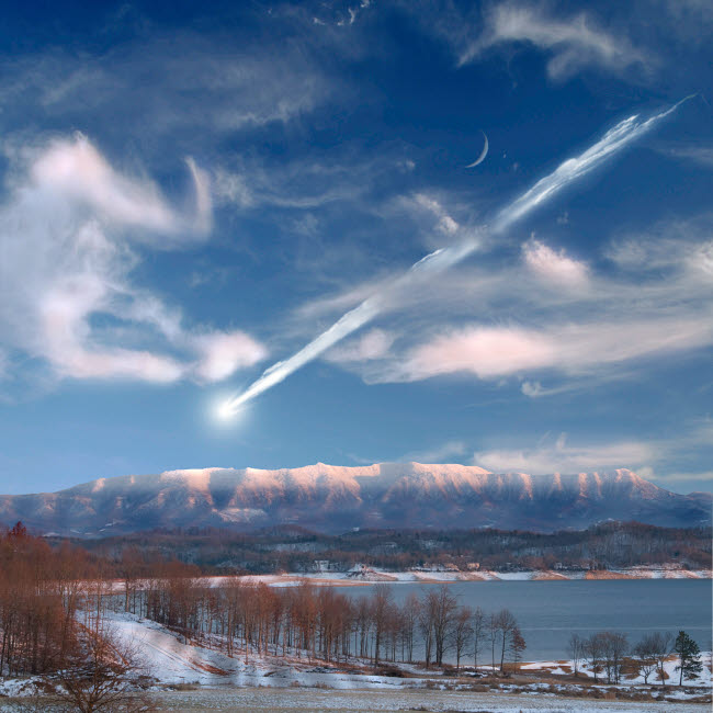 MRC200048S © Stocktrek Images, Inc. Artist's depiction of a large meteor entering Earth's atmosphere.