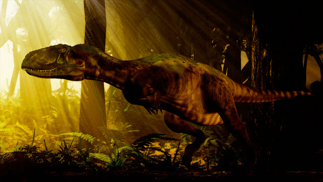 PHB600001P © Stocktrek Images, Inc. An Abelisaurus moves stealthily though the forest.