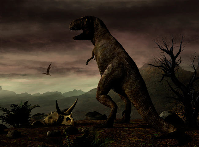 PHB600028P © Stocktrek Images, Inc. An old-fashioned depiction of Tyrannosaurus Rex in upright stance.