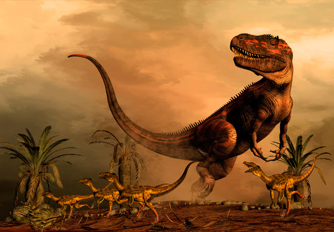 PHB600035P © Stocktrek Images, Inc. A Torvosaurus on the prowl while a group of Ornitholestes flee a hasty retreat.