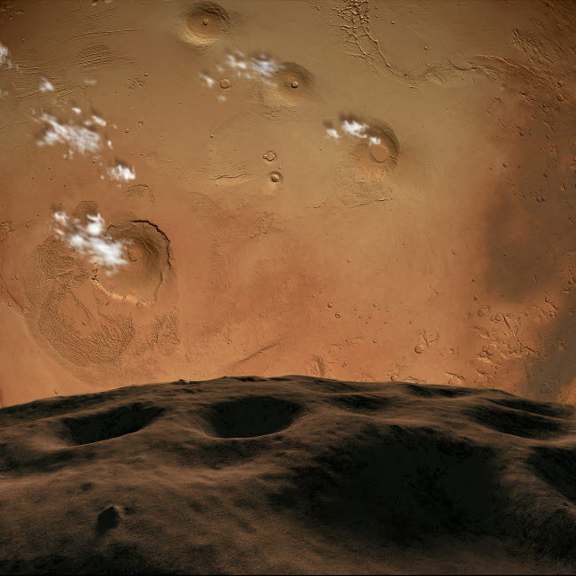 RMR100013S © Stocktrek Images, Inc. Phobos orbits so close to Mars that the planet would fill the little moon's sky.