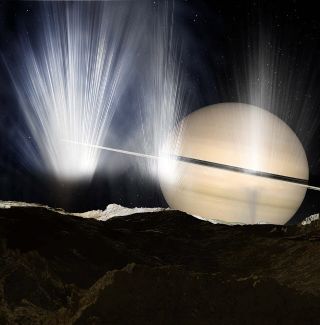 RMR100059S © Stocktrek Images, Inc. Plumes of ice crystals rise from geysers into the sunlight as dawn breaks on Enceladus.