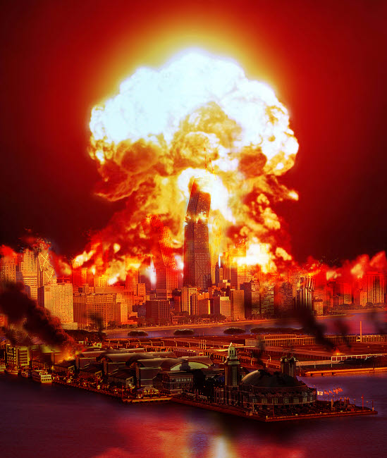 RMR100062S © Stocktrek Images, Inc. Chicago disintegrates as a nuclear explosion erupts in the middle of the city.